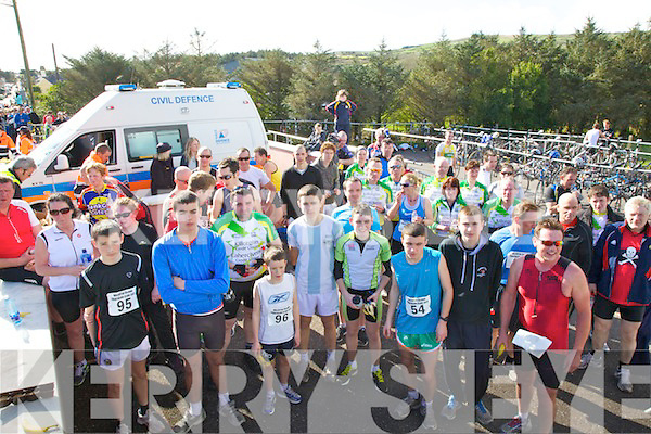 Some of the 106 competitors who took part in the Valentia Island Duathlon on Sunday pictured here in the transition area at Chapletown.
