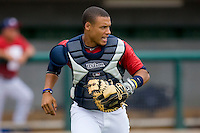 Catcher Elvin Soto #20 of Team Red on defense against Team Blue during the USA 18U National Team Trials at the USA Baseball National Training Center on July 1, 2010, in Cary, North Carolina.  Photo by Brian Westerholt / Four Seam Images