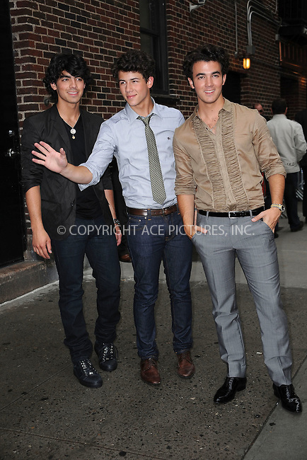"WWW.ACEPIXS.COM . . . . . ....June 11 2009, New York City....Pop band The Jonas Brothers made an appearance at the ""Late Show with David Letterman"" at the Ed Sullivan Theatre on June 11 2009 in New York City....Please byline: KRISTIN CALLAHAN - ACEPIXS.COM.. . . . . . ..Ace Pictures, Inc:  ..tel: (212) 243 8787 or (646) 769 0430..e-mail: info@acepixs.com..web: http://www.acepixs.com"