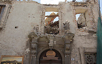 A collapsed building in the village of Amatrice, central Italy, hit by a magnitude 6 earthquake at 3,36 am, 24 August 2016.<br /> Un edificio distrutto dopo il terremoto che alle 3,36 del mattino ha colpito Amatrice, 24 agosto 2016.<br /> UPDATE IMAGES PRESS/Riccardo De Luca