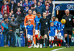 05.05.2019 Rangers v Hibs: James Tavernier with the Rangers mascots