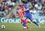 Getafe's Manuel del Moral against Almeria's Miguel Garcia Corona during La Liga match. February 14, 2010. (ALTERPHOTOS/Alvaro Hernandez).