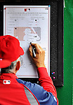8 September 2011: Washington Nationals Manager Davey Johnson notes a pitching change by the Los Angeles Dodgers during a game at Nationals Park in Washington, DC. The Dodgers defeated the Nationals 7-4 to take the third game of their 4-game series. Mandatory Credit: Ed Wolfstein Photo