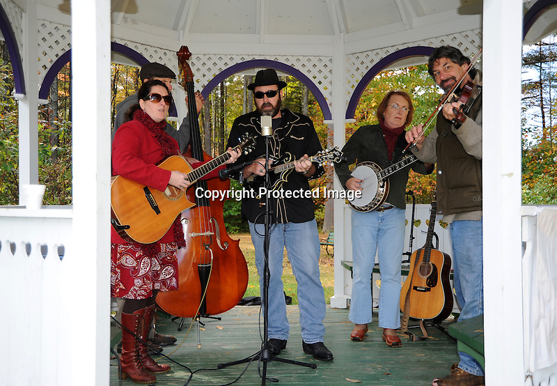 Blackjack Crossing Bluegrass Band Performing in the Gazebo during Harvest Festival in Marlow, New Hampshire USA