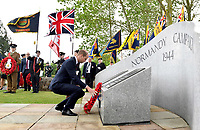 Prince William, Duke of Cambridge lays a wreath during a service at the National Memorial Arboretum in Alrewas, Staffordshire, during an event to commemorate the 75th anniversary of the D-Day landings. Photo Credit: ALPR/AdMedia