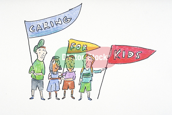 "children carrying a ""caring for kids"" banner"