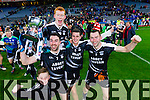 Stephen Leen, Brandon Barrett, Trevor Wallace and  Darren Dineen Ardfert players celebrate after winning the Intermediate All Ireland Club Final in Croke Park on Saturday.