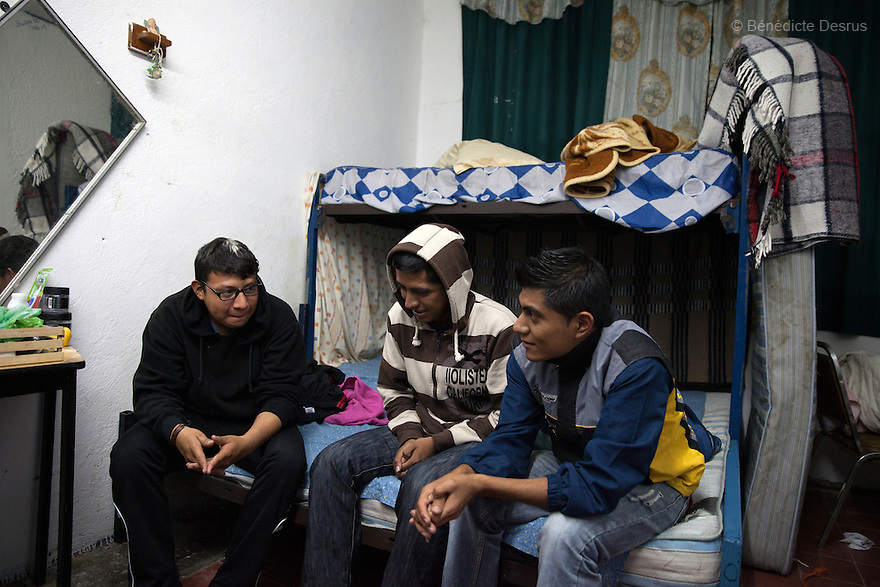 """Miguel Angel,19 and Noel, 22 both students from Ayotzinapa's teacher training college meet with Misael, a students from """"Miguel Hidalgo"""" teacher-trainingcollege as the Caravan for Ayotzinapa arrives in Atequiza, Jalisco, Mexico on November 18, 2014. The parents and relatives of the 43 missing students still do not believe the official line that the young men are all dead, and with classmates, social organizations and human rights defenders, they started on Thursday a national caravan. They split up into three different caravans, branching out to share information face to face with supporters in other cities and rally nationwide support. The three groups will meet in Mexico City on Thursday 20 for a general strike and massive marches to demand justice and fight against corrupted government and organized crime. Criticism of the government has intensified in Mexico, and many are demanding that the search for the 43 missing students continue until there is concrete evidence to the contrary. (Photo by BénédicteDesrus)"""