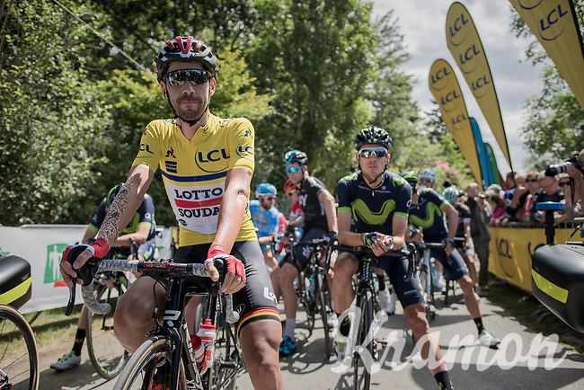 yellow jersey / GC leader Thomas de Gendt (BEL/Lotto-Soudal) at the start<br /> <br /> Stage 6: Le parc des oiseaux/Villars-Les-Dombes &rsaquo; La Motte-Servolex (147km)<br /> 69th Crit&eacute;rium du Dauphin&eacute; 2017