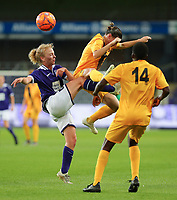 20190912 - Anderlecht , BELGIUM : Anderlecht's Charlotte Tisson and BIIK-Kazygurt's Alina Litvinenko (9) are pictured battling for the ballduring the female soccer game between the Belgian Royal Sporting Club Anderlecht Dames  and BIIK Kazygurt from Shymkent in Kazachstan, this is the first leg in the round of 32 of the UEFA Women's Champions League season 2019-20120, Thursday 12 th September 2019 at the Lotto Park in Anderlecht , Belgium. PHOTO SPORTPIX.BE | SEVIL OKTEM