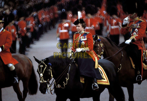HRH QUEEN ELIZABETH..Ref: 026..trooping of the colour, horse, uniform, riding, royalty..www.capitalpictures.com..sales@capitalpictures.com..©Capital Pictures..