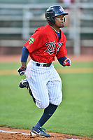 Elizabethton Twins right fielder T.J. Dixon (38) runs to first base during a game against the Pulaski Yankees at Joe O'Brien Field on June 27, 2016 in Elizabethton, Tennessee. The Yankees defeated the Twins 6-4. (Tony Farlow/Four Seam Images)