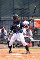 GCL Yankees 1 second baseman Bryan Cuevas (67) at bat during the first game of a doubleheader against the GCL Braves on July 1, 2014 at the Yankees Minor League Complex in Tampa, Florida.  GCL Yankees 1 defeated the GCL Braves 7-1.  (Mike Janes/Four Seam Images)