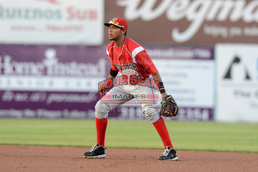 Batavia Muckdogs second baseman Rehiner Cordova (13) during a game against the Auburn Doubledays on August 28, 2013 at Falcon Park in Auburn, New York.  Batavia defeated Auburn 3-0.  (Mike Janes/Four Seam Images)