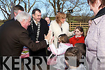 Kayla ORegan McCannon (in Red Coat) great grand-daughter of the late Martin Bracker ORegan salutes Minister Dick Roche at the opening of the Bracker ORegan road last Friday..Also in the pic is Brackers daughter Mary, with children Roisin and Emily, and great grandson Oisin, Mayor of  Kerry Ted Fitzgerald and on left Evelyn ORegan..