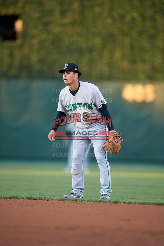 Clinton LumberKings second baseman Bryson Brigman (8) during a game against the South Bend Cubs on May 5, 2017 at Four Winds Field in South Bend, Indiana.  South Bend defeated Clinton 7-6 in nineteen innings.  (Mike Janes/Four Seam Images)