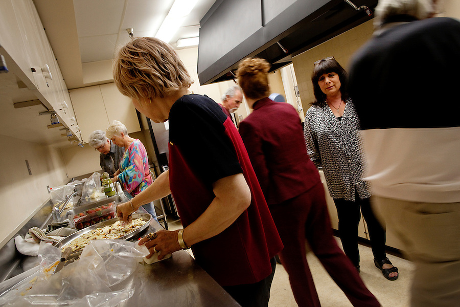 Laguna Woods, California, November 3, 2010 - Members of Village Cannabis prepare food for one of their monthly meetings at Laguna Woods Village, an 18,000 plus senior community. Village Cannabis Club is a sister organization to Laguna Woods Village for Medical Cannabis, a collective of about 100 members that operates as a dispensary for medical marijuana in the nearby senior community of Laguna Woods Village and its environs. The club serves as a organization that holds regular meetings to help educate the community to the benefits of marijuana. .