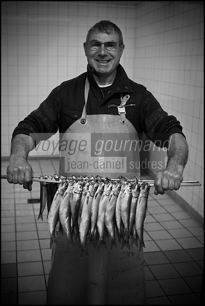 Europe/France/Nord-Pas-de-Calais/59/Nord/Flandre/Grand-Fort-Philippe: A la saurisserie Dutriaux - Spécialités de produits fumés de la mer,filets de harengs fumés doux et filets marinés du Nord Pas-de-Calais  & marinades //   France, Nord, Flanders, Grand Fort Philippe, Nathalie Dutriaux At the smoked fish, smoked specialties from the sea, smoked herring fillets marinated fillets of mild and Nord Pas de Calais and marinades  [Non destiné à un usage publicitaire - Not intended for an advertising use]