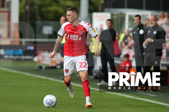 Ashley Hunter of Fleetwood Town on the attack against Rochdale AFC during the Sky Bet League 1 match between Fleetwood Town and Rochdale at Highbury Stadium, Fleetwood, England on 18 August 2018. Photo by Stephen Gaunt / PRiME Media Images.
