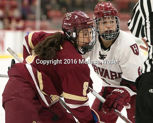 Dana Trivigno (BC - 8), Nikki Friesen (Harvard - 6) - The visiting Boston College Eagles defeated the Harvard University Crimson 2-0 on Tuesday, January 19, 2016, at Bright-Landry Hockey Center in Boston, Massachusetts.