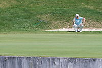 Sebastian Soderberg (SWE) lines up his putt on the 13th hole during final round at the Omega European Masters, Golf Club Crans-sur-Sierre, Crans-Montana, Valais, Switzerland. 01/09/19.<br /> Picture Stefano DiMaria / Golffile.ie<br /> <br /> All photo usage must carry mandatory copyright credit (© Golffile | Stefano DiMaria)