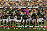 06 December 2015: Portland Timbers starters. Front row (from left): Lucas Melano (ARG), Rodney Wallace (CRC), Darlington Nagbe (LIB), Jorge Villafana, Diego Valeri (ARG), Diego Chara. Back row (from left): Fanendo Adi (NGA), Alvas Powell (JAM), Nat Borchers, Adam Kwarasey (NOR), Liam Ridgewell (ENG). The Columbus Crew SC hosted the Portland Timbers FC at Mapfre Stadium in Columbus, Ohio in MLS Cup 2015, Major League Soccer's championship game. Portland won the game 2-1.