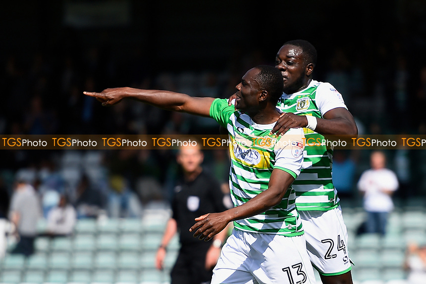Francois Zoko of Yeovil Town left celebrates his goal with Olufela Olomola of Yeovil Town during Yeovil Town vs Accrington Stanley, Sky Bet EFL League 2 Football at Huish Park on 12th August 2017