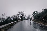 Julien Bernard (FRA/Trek-Segafredo) moving solo through the torrential rains<br /> <br /> 76th Paris-Nice 2018<br /> Stage 8: Nice > Nice (110km)