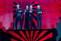 Irish rock band U2, Bono, The Edge, Adam Clayton and Larry Mullen Jr accept the global icon award during the show of the 2017 MTV Europe Music Awards, EMAs, at SSE Arena, Wembley, in London, Great Britain, on 12 November 2017. Photo: Hubert Boesl <br />