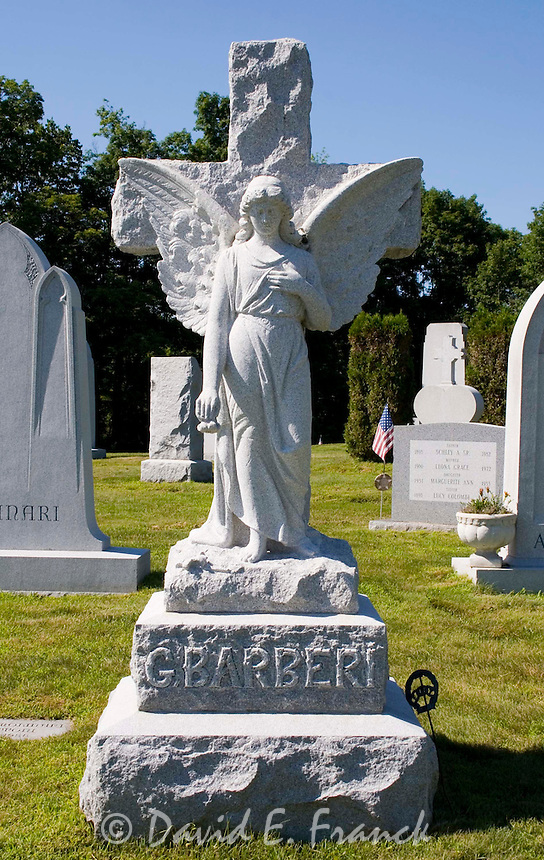 Angel gravestone at the Hope Cemetery in Barre, Vermont the granite capital of the world.