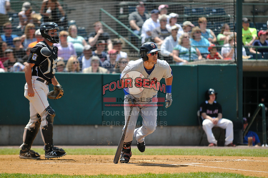 Matt Clark (4) of the Binghamton Mets bats in front of catcher Matt Koch (22) during a game against the New Britain Rock Cats at New Britain Stadium on June 1, 2014 in New Britain, Connecticut.  New Britain defeated Binghamton 6-1.   (Gregory Vasil/Four Seam Images)