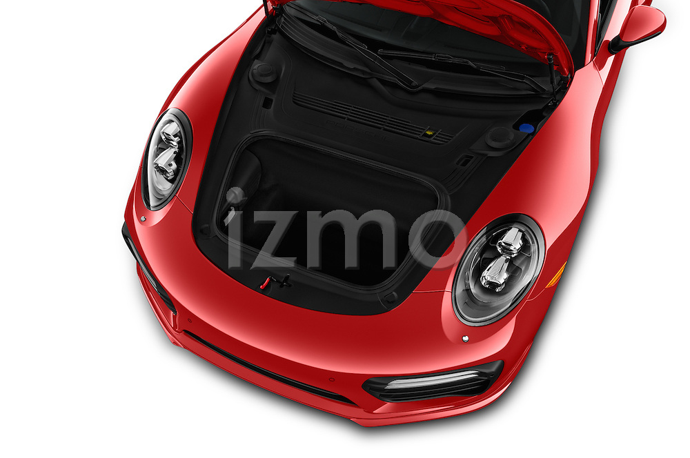 Car Stock 2018 Porsche 911 Turbo 2 Door Coupe Engine  high angle detail view