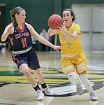 SPEARFISH, SD: DECEMBER 30:  Julia Seamans #3 of Black Hills State drives past Jennah Knafelc #11 of CSU Pueblo during their game Saturday evening at the Donald E. Young Center in Spearfish, S.D.   (Photo by Dick Carlson/Inertia