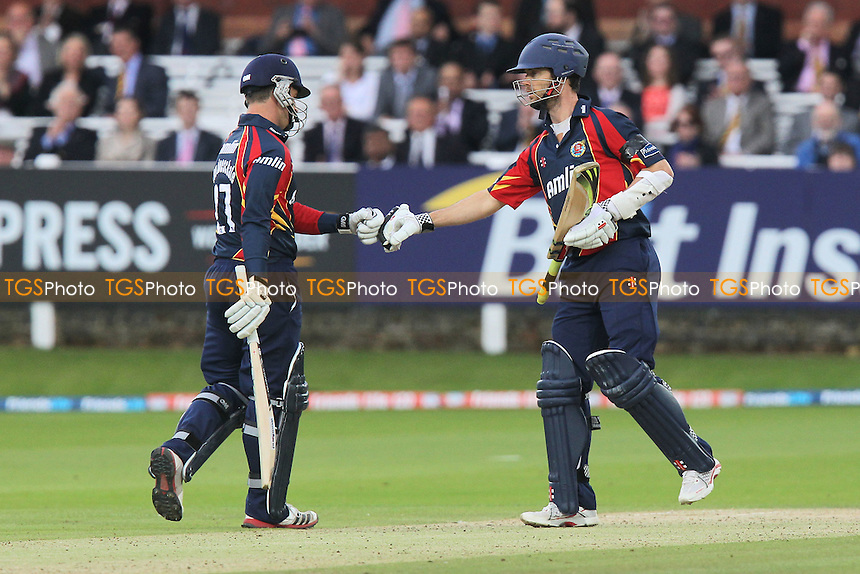 James Foster (R) of Essex congratulates Ryan ten Doeschate on scoring 6 runs - Essex Eagles vs Kent Spitfires - Friends Life T20 Cricket at the Ford County Ground, Chelmsford, Essex - 21/06/12 - MANDATORY CREDIT: Gavin Ellis/TGSPHOTO - Self billing applies where appropriate - 0845 094 6026 - contact@tgsphoto.co.uk - NO UNPAID USE.