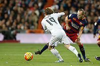 Barcelona´s Andres Iniesta during 2015-16 La Liga match between Real Madrid and Barcelona at Santiago Bernabeu stadium in Madrid, Spain. November 21, 2015. (ALTERPHOTOS/Victor Blanco) /NortePhoto