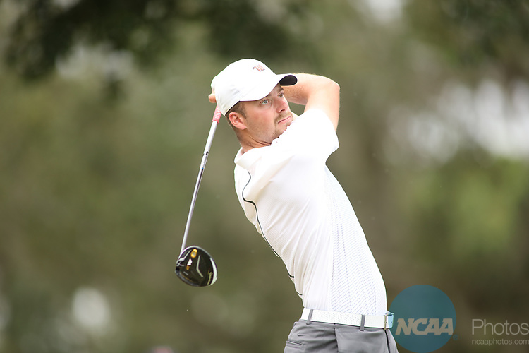 HOWEY IN THE HILLS, FL - MAY 19: Garrett Brickley of Wittenberg University tees off during the Division III Men's Golf Championship held at the Mission Inn Resort and Club on May 19, 2017 in Howey In The Hills, Florida. (Photo by Cy Cyr/NCAA Photos via Getty Images)