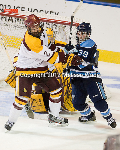 Brady Lamb (Duluth - 2), Joey Diamond (Maine - 39) - The University of Minnesota Duluth Bulldogs defeated the University of Maine Black Bears 5-2 in their NCAA Northeast semifinal on Saturday, March 24, 2012, at the DCU Center in Worcester, Massachusetts.