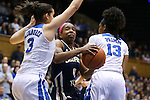 21 February 2016: Georgia Tech's Imani Tilford (0) is defended by Duke's Angela Salvadores (ESP) (3) and Crystal Primm (13). The Duke University Blue Devils hosted the Georgia Tech Yellow Jackets at Cameron Indoor Stadium in Durham, North Carolina in a 2015-16 NCAA Division I Women's Basketball game. Georgia Tech won the game 64-59.