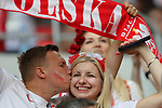 19th June 2018, Spartak Stadium, Moscow, Russia; FIFA World Cup Football, Group H, Poland versus Senegal; A fan kiss an other fan from Poland