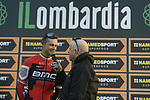 Nicolas Roche (IRL) BMC Racing Team talks to Anthony McCrossan at sign on before the start of the 111th edition of Il Lombardia 2017 &quot; The Race of the Falling Leaves&quot; the final monument of the season, running 247km from Bergamo to Como, Italy. 7th October 2017.<br /> Picture: LaPresse/Fabio Ferrari | Cyclefile<br /> <br /> <br /> All photos usage must carry mandatory copyright credit (&copy; Cyclefile | LaPresse/Fabio Ferrari)