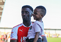 Fleetwood Town&rsquo;s Jordy Hiwula with son after the match<br /> <br /> Photographer Leila Coker/CameraSport<br /> <br /> The EFL Sky Bet League One - Fleetwood Town v Walsall - Saturday 5th May 2018 - Highbury Stadium - Fleetwood<br /> <br /> World Copyright &copy; 2018 CameraSport. All rights reserved. 43 Linden Ave. Countesthorpe. Leicester. England. LE8 5PG - Tel: +44 (0) 116 277 4147 - admin@camerasport.com - www.camerasport.com