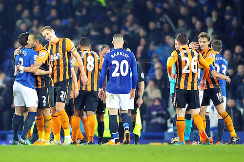 03.12.2014.  Liverpool, England. Premier League. Everton versus Hull. The players shake hands at the end of the game