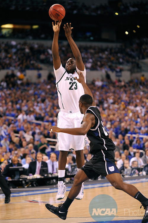 3 APR 2010: Draymond Green (23) of Michigan State University puts up a shot as Michigan State takes on Butler University during the semi final game of the Men's Final Four Basketball Championships held at Lucas Oil Stadium in Indianapolis, IN. Butler University went on to defeat Michigan State University 52-50 to advance to the championship game. Ryan McKee/NCAA Photos