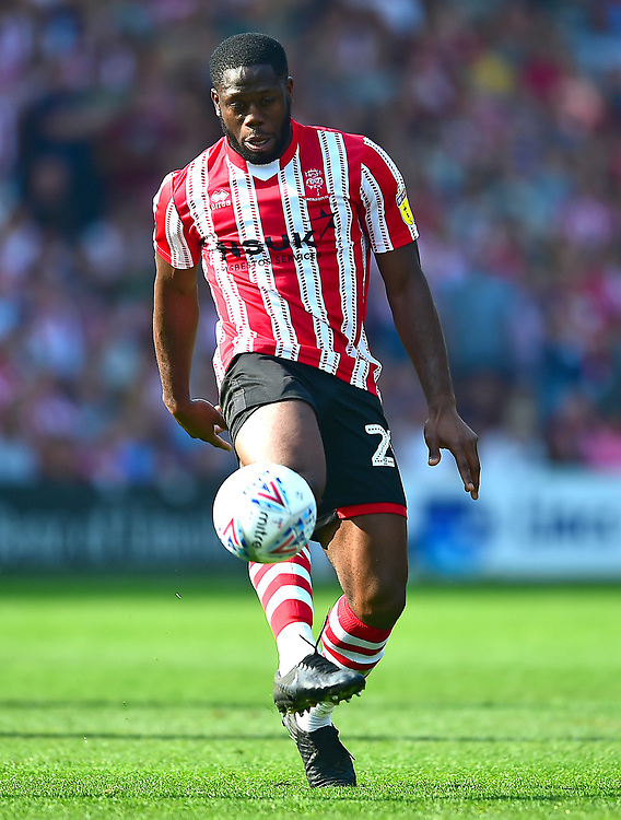 Lincoln City's John Akinde<br /> <br /> Photographer Andrew Vaughan/CameraSport<br /> <br /> The EFL Sky Bet League Two - Lincoln City v Tranmere Rovers - Monday 22nd April 2019 - Sincil Bank - Lincoln<br /> <br /> World Copyright © 2019 CameraSport. All rights reserved. 43 Linden Ave. Countesthorpe. Leicester. England. LE8 5PG - Tel: +44 (0) 116 277 4147 - admin@camerasport.com - www.camerasport.com