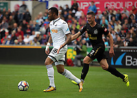 (L-R) Jordan Ayew of Swansea City closely followed by Ciaran Clark of Newcastle United during the Premier League match between Swansea City and Newcastle United at The Liberty Stadium, Swansea, Wales, UK. Sunday 10 September 2017