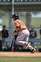 Baltimore Orioles Chance Sisco (12) during a minor league spring training game against the Minnesota Twins on March 28, 2015 at the Buck O'Neil Complex in Sarasota, Florida.  (Mike Janes/Four Seam Images)