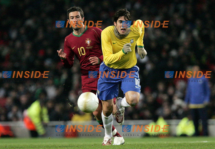 Brazil's Kaka against Portugal's Hugo Viana during a friendly match at Emirates Stadium in London, Tuesday February 06, 2007. (INSIDE/ALTERPHOTOS/Alvaro Hernandez).