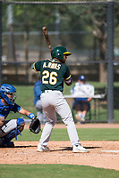 Oakland Athletics first baseman Alfonso Rivas (26) at bat during an Instructional League game against the Los Angeles Dodgers at Camelback Ranch on October 4, 2018 in Glendale, Arizona. (Zachary Lucy/Four Seam Images)