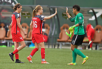 Portland, OR - Saturday April 29, 2017: Emily Sonnett, Adrianna Franch, Emily Menges after a regular season National Women's Soccer League (NWSL) match between the Portland Thorns FC and the Chicago Red Stars at Providence Park.