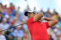 Xander Schauffele (USA) tees off the 1st tee to start his match during Sunday's Final Round of the 117th U.S. Open Championship 2017 held at Erin Hills, Erin, Wisconsin, USA. 18th June 2017.<br /> Picture: Eoin Clarke | Golffile<br /> <br /> <br /> All photos usage must carry mandatory copyright credit (&copy; Golffile | Eoin Clarke)